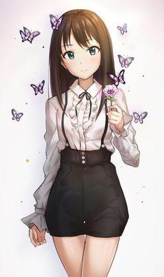 Anime Girl with butterflies - BL Manga Kawaii Anime Girl, Manga Kawaii, Cool Anime Girl, Pretty Anime Girl, Chica Anime Manga, Beautiful Anime Girl, Manga Girl, Anime Art Girl, Anime Love
