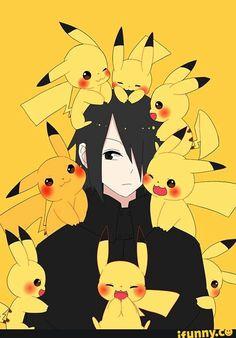 Uchiha Sasuke, Naruto, Pikachu, cute, Pokemon, crossover; Anime