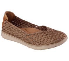 Put some added shiny style into your comfort with the SKECHERS Bobs Pureflex - Pure Fun shoe. Soft woven metallic and matte stretch fabric and suede-finished fabric upper in a slip on casual comfort ballet flat with woven detail and Memory Foam insole.