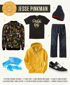 Halloween Costume Guide: Jesse Pinkman from Breaking Bad. Wear oversized Skate Clothes, blue meth made from rock candy, and use Jesse's favorite word! Read more at TheGentleManual.com