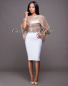 Chic Couture Online - Everly Blush Gold  Sequins Cape Top, $45.00 (http://www.chiccoutureonline.com/everly-blush-gold-sequins-cape-top/)
