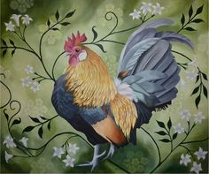 Rooster Rooster Painting, Rooster Art, Rooster Decor, Chicken Painting, Chicken Art, Chicken Pictures, Scandinavian Folk Art, Chickens And Roosters, Hens And Chicks