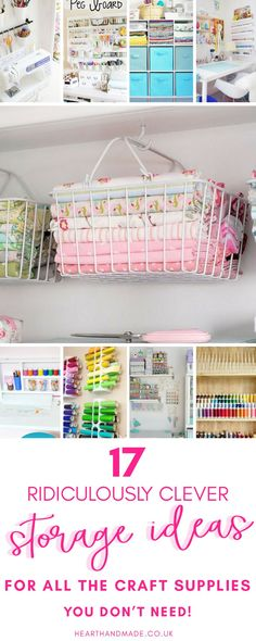17 Fabulous Creative Storage Solutions For Your Studio Craft storage ideas for small spaces. In need of many craft storage ideas to finally get your craft room organized? There are lots of posts here to help you so click through! Craft Storage Ideas For Small Spaces, Craft Storage Solutions, Small Craft Rooms, Small Space Storage, Small Space Organization, Craft Room Storage, Creative Storage, Craft Organization, Storage Boxes