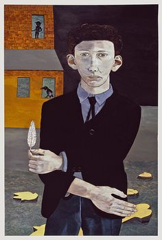 Lucien Freud, Man with a Feather (Self-portrait), 1943  Lucian Michael Freud, OM, CH (8 December 1922 – 20 July 2011)[1] was a German-born British painter. Known chiefly for his thickly impastoed portrait and figure paintings, he was widely considered the pre-eminent British artist of his time.[2] His works are noted for their psychological penetration, and for their often discomforting examination of the relationship between artist and model