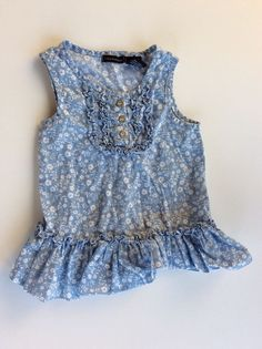 Calvin Klein, Girl's Sleeveless Blue Floral Shirt, Ruffled Hem, Size 4T | Clothing, Shoes & Accessories, Baby & Toddler Clothing, Girls' Clothing (Newborn-5T) | eBay!