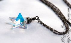 Valentines Sale: Star Necklace, Star Pendant, Crystal, Aurora Borealis, Celestial, Night, Sky, Sterling Silver - Catch a Falling Star