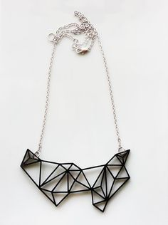 Geometric Necklace - Prism & Triangles Minimalist Necklace in Black ($26.99) - Svpply