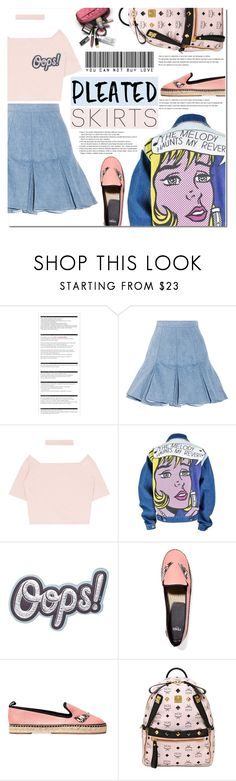 """Pleated Skirt"" by bibibaubau ❤ liked on Polyvore featuring Arche, Balmain, Anya Hindmarch, Fendi, MCM and pleatedskirts"