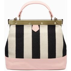 Petit Charlie Striped Canvas and Blush Pink (€315) ❤ liked on Polyvore featuring bags, handbags, purses, canvas man bag, chain strap purse, shoulder handbags, canvas shoulder bag and canvas purse