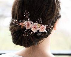Blossom hair pins, Pink blossom flower, Cherry blossom hair pins, Bride hair accessories, Flower hair clips Apple, Floral accessories sakura