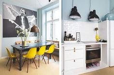 Skandynawski styl: biel w roli głównej Interior, Home, Colorful Apartment, Gorgeous Houses, House Interior, Scandinavian Design, Cosy Kitchen, House Tours, Interior Design