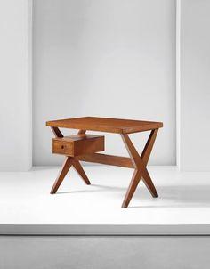 PIERRE JEANNERET 'Steno's desk', model no. PJ-TA-12-A, Chandigarh , circa 1960 Teak, aluminium