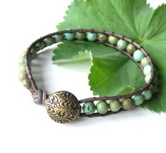 Leather wrap bracelet  green turquoise gemstone by dalystudios, $20.00
