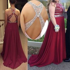 Dark Red Plus Size Prom Dress with Beads