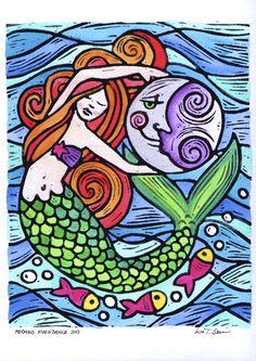 Mermaid Moondance by Lisa Traina Quin Mermaid Fairy, Mermaid Tale, Mermaid Glass, Real Mermaids, Mermaids And Mermen, Painted Rocks, Hand Painted, Posca Art, Mermaid Images