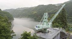 MachineryHeavy0113 - Free Background Texture - crane reference dam lake green gray