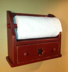 Rustic, Primitive, Country Paper Towel Holder with Drawer – Deep Cranberry Red #Handmade