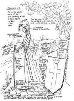 Prachtig getekende wapenrusting voor meiden. Tekst Engels. Gratis te printen // Beautifully drawn armor of God especially for ladies. Free printable.