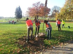 Pittsburgh Allies plant trees at Homewood Cemetery on Make a Difference Day.