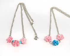 Clay flower necklace Pink and blue clay by KatHandmadeJewelry