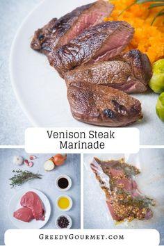 This venison steak marinade can turn any venison steak recipe into a gourmet steak meal. Make the steak marinade your own and pair the venison with a mash. steak recipe Venison Steak Marinade - venison marinade for a gourmet venison recipe Venison Steak Marinade, Cooking Venison Steaks, Cooking Pork Roast, Steak Marinade Recipes, Easy Steak Recipes, Venison Recipes, How To Cook Venison, Cooking Turkey, Gourmet Recipes