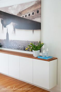 """Nalle's House: DIY FLOATING SIDEBOARDWe mounted three 36"""" x 24"""" ikea cabinets (over the fridge cabinets with Applad doors) using the Ikea kitchen mounting rails."""
