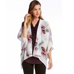 Karen Kane Whimsical Floral Drape Jacket