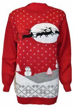 Ladies 70's Jumper Sweater Retro Christmas Xmas Santa Reindeer Sleigh Winter Fairisle Christmass Night Red Black Knitwear 8-14: Amazon.co.uk...