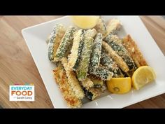 Baked Panko Parmesan Crusted Zucchini Fries - Everyday Food with Sarah Carey - http://blog.tiamart.com/2014/06/baked-panko-parmesan-crusted-zucchini-fries-everyday-food-with-sarah-carey/
