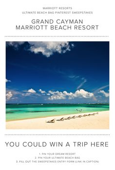 Enter the Marriott Resorts Ultimate Beach Bag Pinterest #Sweepstakes for your chance to win a trip to the Grand Cayman Marriott Beach Resort!