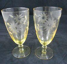 Set of (2) Vtg. Yellow Depression Glass Jubilee Lancaster Wine Glasses/Tumblers