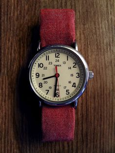 Timex Weekender with hand-made Chambray strap