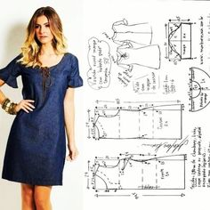 Dress Sewing Patterns, Blouse Patterns, Sewing Patterns Free, Clothing Patterns, Sewing Clothes Women, Diy Clothes, Costura Fashion, Sewing Blouses, Wrap Around Dress