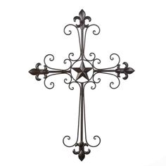 Lone Star Wall Cross (Item Dress up your décor with this wonderful work of spiritual art. Slender wrought-iron curlicues form the graceful shape of the Divine Cross, beautifully accented by fleur de lis ornaments and a single star at the heart.