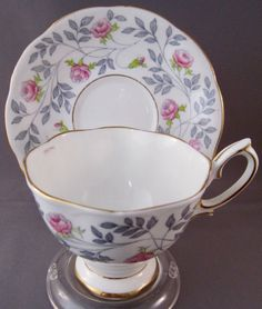 15d60c4756c Royal Albert Conway Bone China Teacup and Saucer - Pink Roses and Grey  Leaves - 6292 - England