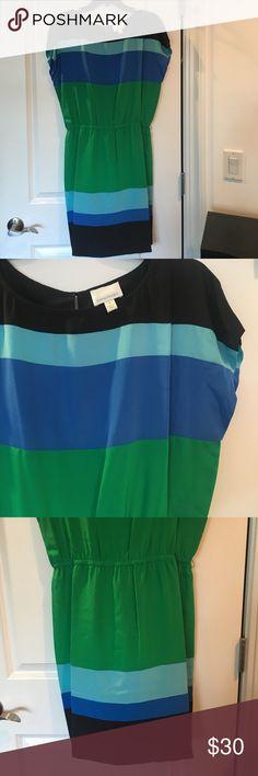 Donna Morgan Silk Color-Blocked Dress Donna Morgan 100% Silk Color-Blocked Dress. Only worn once- like brand new. Black, aqua, blue, green. From Nordstrom. Donna Morgan Dresses Midi