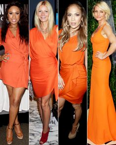 Orange  Hot, hot, hot! Jennifer Husdson worked the color of the year as did Gwyneth Paltrow in a slinky Lanvin number, Jennifer Lopez in 3.1 Phillip separates and Cameron Diaz in a curve-hugging Victoria Beckham gown. With so many ladies in the color, the real question is, who isn't wearing tangerine?