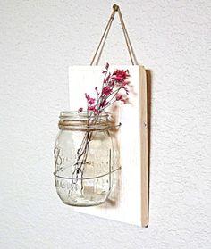 Mason Jar Wall Hanging Decor Barnwood Farmhouse door TeddysRoom