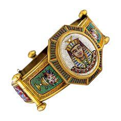 Rare Egyptian Revival Pharaoh Micro Mosaic Bracelet Set In Gold - Italy