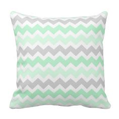 Elegant and modern light pastel mint green, grey and white retro chevron zigzags stripes vintage pattern decorative throw pillow. Fully customisable, add your own text or photo for a truly unique home decor item.