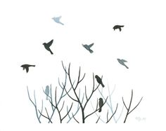 "Original Watercolor Bird Painting, Tree Silhouette with Flock of Birds, Flying Bird Home Decor, Bird Art, Black Tree Branches Art 8"" X 10"" on Etsy, $477.71 HKD"