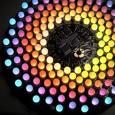 DIY Aurora 9 X 18 LED Art: It features 162 RGB-LEDs and the color of each circle is controlled by a microcontroller using a twisted form of PWM. (Love it, but is it something a techno-phobe should attempt? Diy Electronics, Electronics Projects, Arduino Led, Mini Flashlights, Led Projects, Electronic Kits, Star Art, Led Flashlight, Diy Art