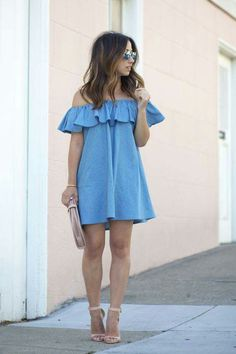 Shoulder baring ruffle dress