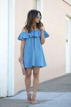 Shoulder baring ruffle dress