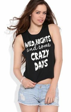 Deb Shops Deep Armhole Crop Tank Top with Wild Nights and Crazy Days Screen $10.00
