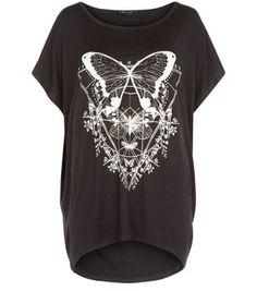 Black Butterfly Print Dip Hem T-Shirt