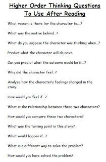 Higher Order Thinking Questions to Use After Reading, during book club discussions