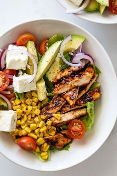 Cajun Delicacies Is A Lot More Than Just Yet Another Food Sticky Grilled Bbq Chicken Salad With Charred Corn, Creamy Avocado And Feta Cheese Is A Delicious And Easy Lunch Or Dinner Recipe. Bbq Chicken Salad, Grilled Chicken Recipes, Recipe Chicken, Healthy Chicken, Healthy Snacks, Healthy Eating, Healthy Recipes, Health Food Recipes, Starbucks Recipes