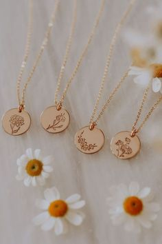 Hand - embossed disc necklaces, personalized bar necklaces Made by Mary - Birth Flower Collection by Dainty Jewelry, Cute Jewelry, Jewelry Accessories, Women Jewelry, Fashion Jewelry, Flower Jewelry, Flower Necklace, Jewelry Ideas, Neck Accessories
