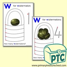 Watermelon Themed Numeracy and Pencil Control - Letter 'w' - Primary Treasure Chest